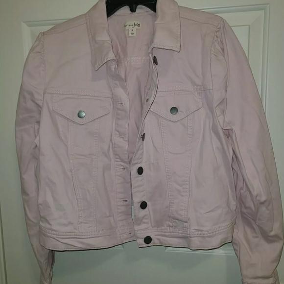 MAISON JULES Women/'s Puffed Sleeve Denim Jean Jacket Size L NWT Pink